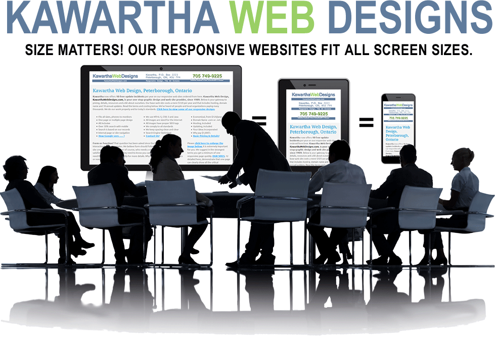 Kawartha Web Designs answers the question, size does matter, so a website needs to be responsive to fit on all screen sizes. CLICK to visit our 12 samples